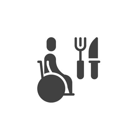 Restaurant disability service vector icon. filled flat sign for mobile concept and web design. Wheelchair man and knife with fork glyph icon. Symbol, logo illustration. Vector graphics