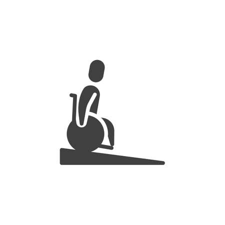 Wheelchair slope way down vector icon. Handicapped man filled flat sign for mobile concept and web design. Disabled ramp down glyph icon. Symbol, logo illustration. Vector graphics