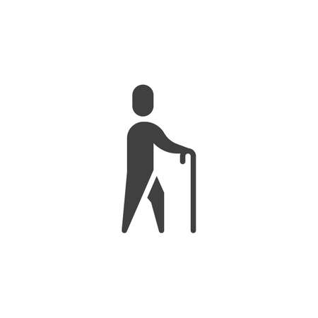 Old man walking with stick vector icon. filled flat sign for mobile concept and web design. Walking human with a stick glyph icon. Symbol, logo illustration. Vector graphics