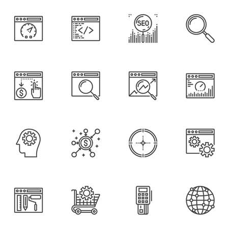 SEO line icons set. linear style symbols collection outline signs pack. vector graphics. Set includes icons as search engine optimization, coding window, speed test, browser search bar, global network