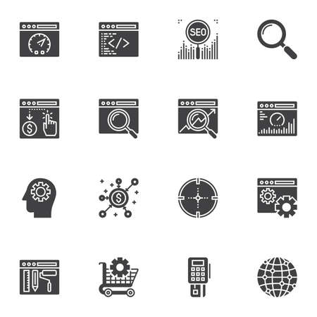 SEO vector icons set, modern solid symbol collection, filled style pictogram pack. Signs, logo illustration. Set includes icons as search engine optimization, coding window, speed test, global network