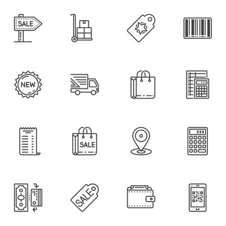 Shopping line icons set. linear style symbols collection, outline signs pack. vector graphics. Set includes icons as sale signboard, price tag, shopping bag, new collection label, calculator, money Ilustracja