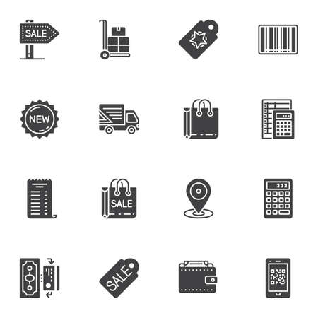 Shopping vector icons set, modern solid symbol collection, filled style pictogram pack. Signs, logo illustration. Set includes icons as signboard, price tag, shopping bag, new collection label, money