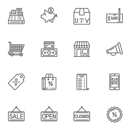 Shopping and commerce line icons set. linear style symbols collection, outline signs pack. vector graphics. Set includes icons as cash machine register, piggy box, shopping cart, cardboard box, money