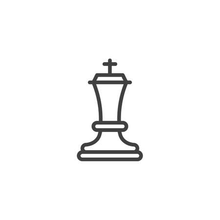 Chess king line icon. linear style sign for mobile concept and web design. King chess figure outline vector icon. Symbol, logo illustration. Vector graphics Ilustrace