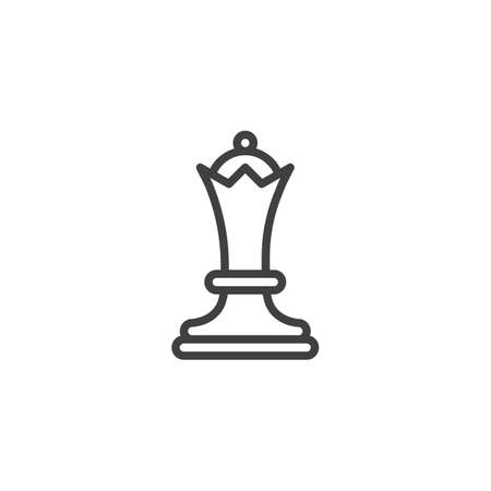 Chess queen line icon. linear style sign for mobile concept and web design. Queen chess figure outline vector icon. Symbol, logo illustration. Vector graphics Stock Illustratie