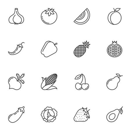 Healthy fruit and vegetable line icons set. linear style symbols collection, outline signs pack. vector graphics. Set includes icons as pomegranate, avocado, pepper, turnip, corn, garlic, tomato, pear Illustration