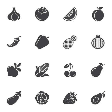 Healthy fruit and vegetable vector icons set, modern solid symbol collection, filled style pictogram pack. Signs, logo illustration. Set includes icons as pomegranate, avocado, pepper, turnip, garlic