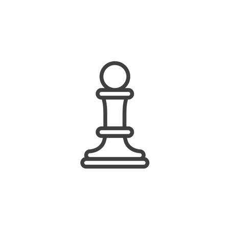 Chess pawn line icon. linear style sign for mobile concept and web design. Pawn of chess piece outline vector icon. Symbol, logo illustration. Vector graphics Stock Illustratie
