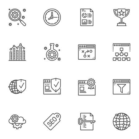 SEO marketing line icons set. linear style symbols collection, outline signs pack. vector graphics. Set includes icons as search optimization, tactic scheme, browser security shield, financial report