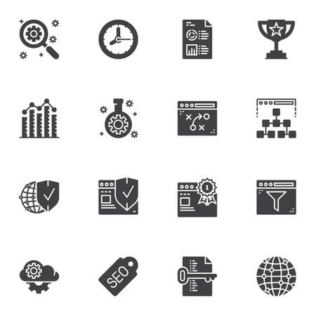 SEO marketing vector icons set, modern solid symbol collection, filled style pictogram pack. Signs, logo illustration. Set includes icons as search optimization, tactic scheme, browser security shield