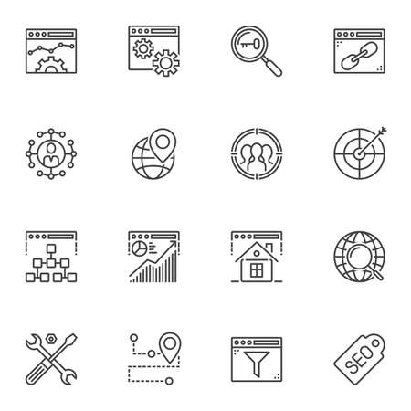 Search engine optimization line icons set. SEO linear style symbols collection outline signs pack. vector graphics. Set includes icons as browser settings, target arrow, search task bar, link, keyword Иллюстрация