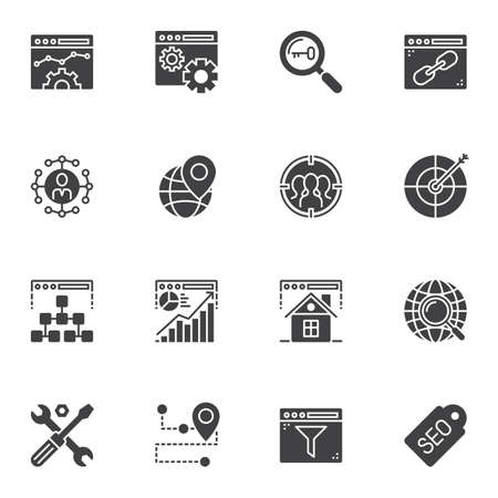 Search engine optimization vector icons set, modern solid symbol collection, filled style pictogram pack. Signs logo illustration. Set includes icons as browser settings, target arrow, search task bar