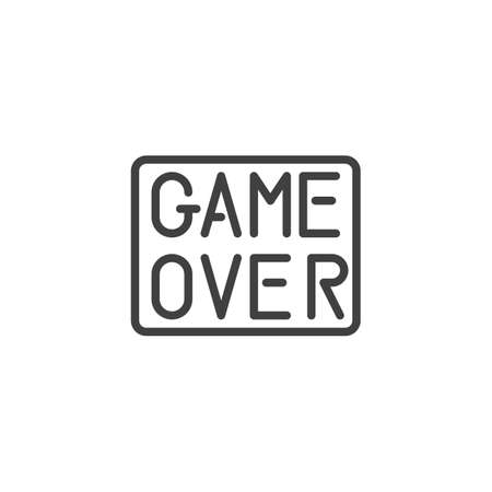 Game over line icon. linear style sign for mobile concept and web design. game over button outline vector icon. Symbol, logo illustration. Vector graphics