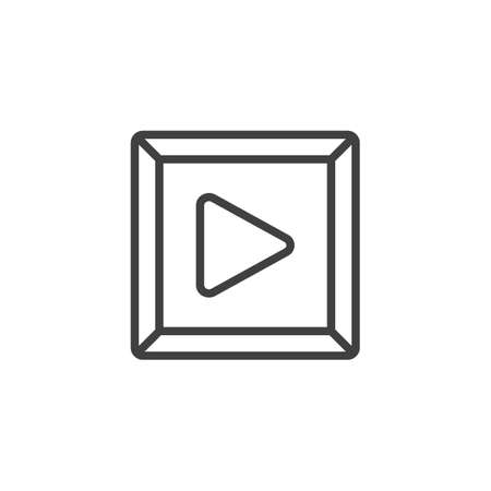 Play Button line icon. linear style sign for mobile concept and web design. Multimedia play outline vector icon. Symbol, logo illustration. Vector graphics