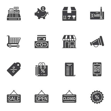 Shopping and commerce vector icons set, modern solid symbol collection, filled style pictogram pack. Signs, logo illustration. Set includes icons as cash machine register, piggy box, shopping cart Illusztráció