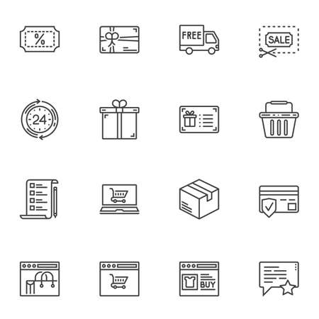 Shopping, marketing line icons set. linear style symbols collection, outline signs pack. vector graphics. Set includes icons as delivery, shopping bag, credit card, payment, gift card, purchase window