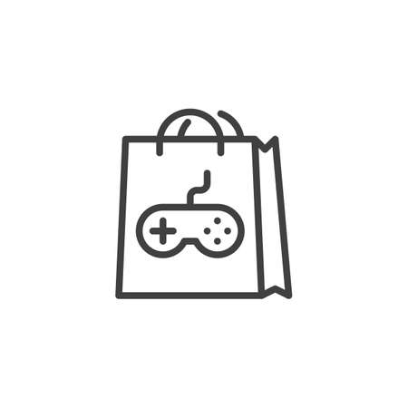 Gamer shopping bag line icon. linear style sign for mobile concept and web design. Shopping bag with game controller outline vector icon. Symbol, logo illustration. Vector graphics Illusztráció