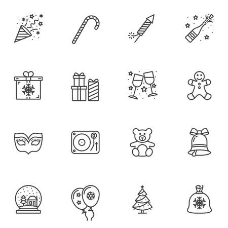 Christmas party line icons set. linear style symbols collection, outline signs pack. vector graphics. Set includes icons as stick, fireworks cracker, gift box, toy, tree, snowball, snowflake bubbles Illusztráció