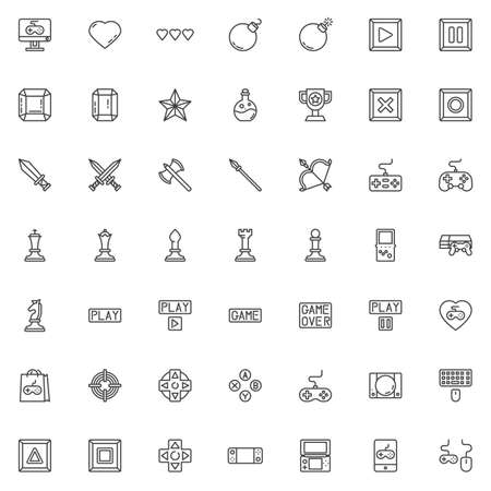 Video game elements line icons set. linear style symbols collection outline signs pack. vector graphics. Set includes icons as game console controller, computer keyboard and mouse, pc monitor, diamond Reklamní fotografie - 130159218