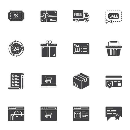 Shopping, marketing vector icons set, modern solid symbol collection, filled style pictogram pack. Signs, logo illustration. Set includes icons as delivery, shopping bag, credit card, payment