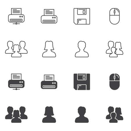 Universal web icon line and glyph version, outline and filled vector sign. linear and full pictogram. Symbol, logo illustration. Different style icons set Ilustracja