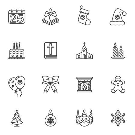 Holly Christmas line icons set. linear style symbols collection, outline signs pack. vector graphics. Set includes icons as calendar, jingle bell, cake, candle, gingerman, cookie, church, hat, sock Imagens - 130159340