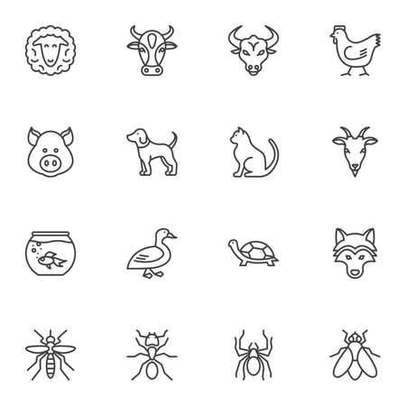 Insects and animals vector icons set, modern solid symbol collection filled style pictogram pack. Signs logo illustration. Set includes icons as spider ant turtle, goat, bull, sheep, pig, cow, chicken