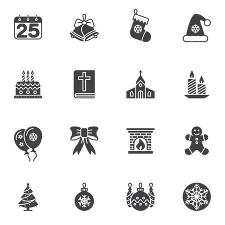 Holly Christmas vector icons set, modern solid symbol collection, filled style pictogram pack. Signs, logo illustration. Set includes icons as calendar, jingle bell, candle, gingerman, cookie, church Ilustração