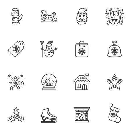 Christmas line icons set. linear style symbols collection, outline signs pack. vector graphics. Set includes icons as santa, flag, gift bag, fireworks, stars, glass, house, sock, sleigh snowflake