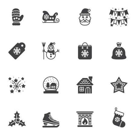 Christmas vector icons set, modern solid symbol collection, filled style pictogram pack. Signs, logo illustration. Set includes icons as santa, flag, gift bag, fireworks, stars, glass, sock, sleigh Illusztráció