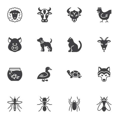 Insects and animals vector icons set, modern solid symbol collection, filled style pictogram pack. Signs, logo illustration. Set includes icons as spider, turtle, goat, bull, sheep, pig, cow, dog, cat Иллюстрация