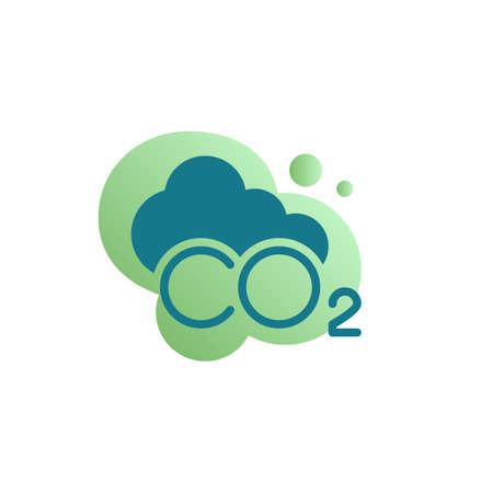 CO2 carbon dioxide smoke icon vector, filled flat sign, CO2 cloud bicolor pictogram, green colors. Symbol, logo illustration