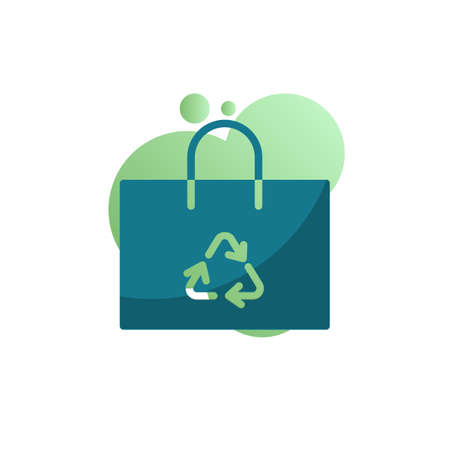 ECO bag icon vector, Recycle shopping bag filled flat sign, bicolor pictogram, green colors. Symbol, logo illustration
