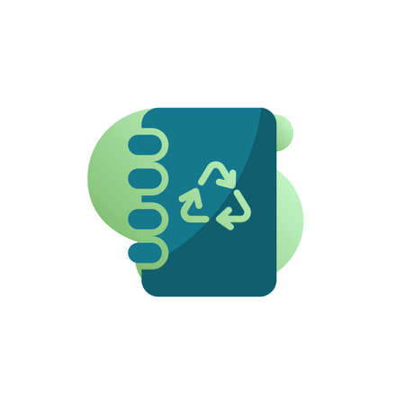 Eco book icon vector, Notebook with recycling arrows filled flat sign, bicolor pictogram, green colors. Symbol, logo illustration Ilustracja