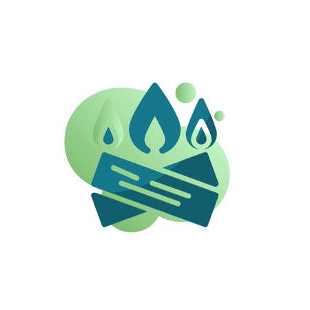 Firewood flame icon vector, filled flat sign, Bonfire burning bicolor pictogram, green colors. Symbol, logo illustration
