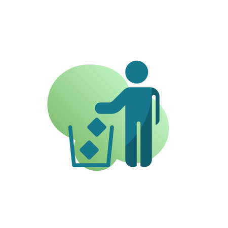 Keep it clean icon vector, Do not litter filled flat sign, bicolor pictogram, green colors. Symbol, logo illustration