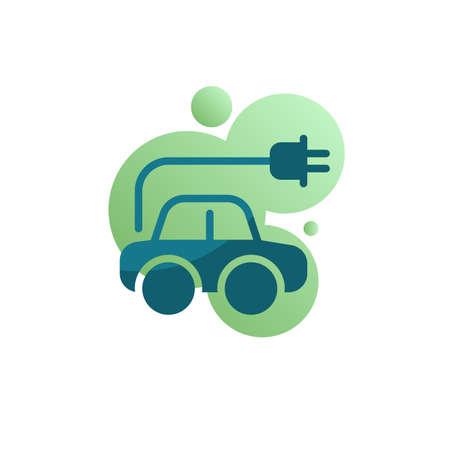Electric car charger plug icon vector, filled flat sign, Eco car bicolor pictogram, green colors. Symbol, logo illustration