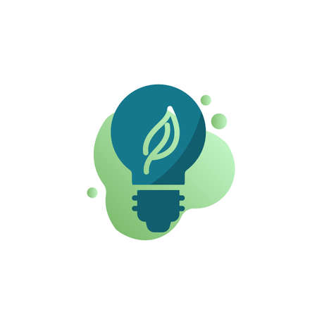 Eco lamp icon vector, Light bulb with leaf filled flat sign, bicolor pictogram, green colors. Eco energy symbol, logo illustration
