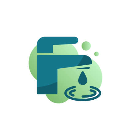 Water tap with drop icon vector, filled flat sign, Faucet with water drop bicolor pictogram, green colors. Save the water symbol, logo illustration