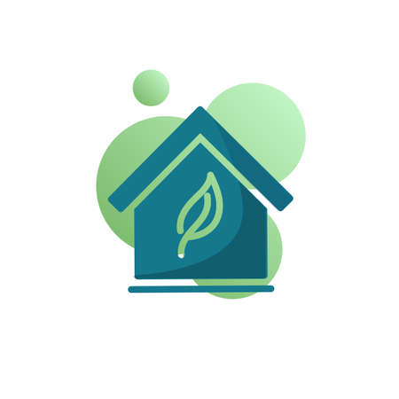 Eco house icon vector, filled flat sign, Green house bicolor pictogram, Home with leaf green colors. Symbol, logo illustration Ilustracja