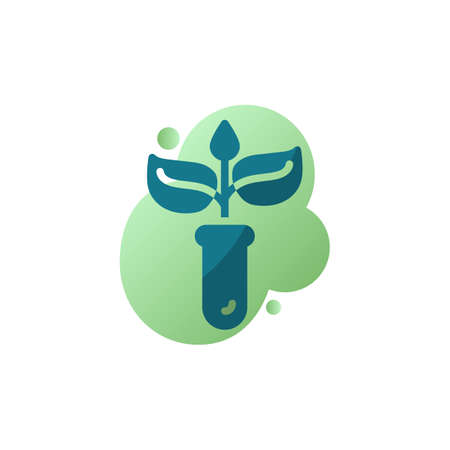 Plant in laboratory glass icon vector, filled flat sign, Test tube with Leaves bicolor pictogram, green colors. Symbol, logo illustration Archivio Fotografico - 130160302