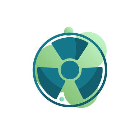 Nuclear Hazard icon vector, filled flat sign, Radiation bicolor pictogram, green colors. Symbol, logo illustration