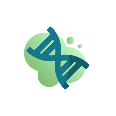 DNA molecule icon vector, filled flat sign, DNA structure bicolor pictogram, green colors. Genetic Symbol, logo illustration Ilustração