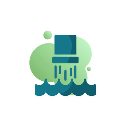 Water pollution pipe icon vector, Industrial waste from pipe into water filled flat sign, bicolor pictogram, green colors. Environmental pollution symbol, logo illustration Ilustracja