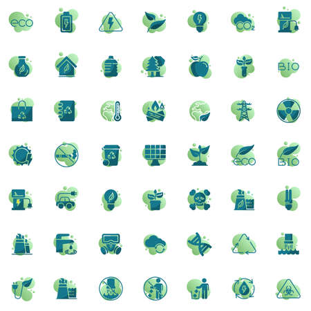 Ecology vector icons set, modern solid bicolor symbol collection, filled style pictogram pack. Signs, logo illustration. Set includes icons as environmental pollution, water cycle, global warming Archivio Fotografico - 130160340