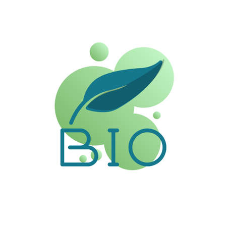 BIO text and leaf icon vector, bio lettering filled flat sign, bicolor pictogram, green colors. Symbol, logo illustration Archivio Fotografico - 130160547