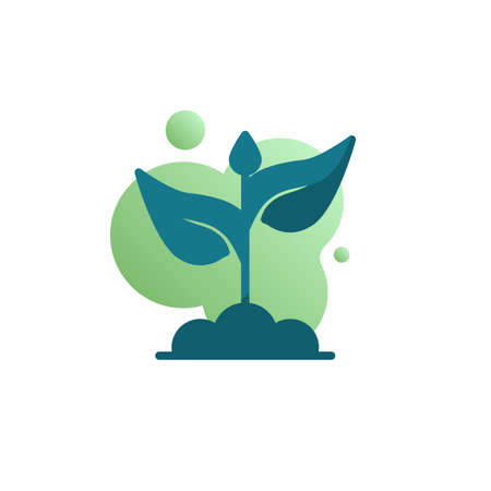 Sprout in soil icon vector, filled flat sign, bicolor pictogram, Growing plant with leaves green colors. Symbol, logo illustration Archivio Fotografico - 130160556