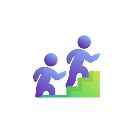 Climbing career ladder flat icon, People move up ladder vector sign, Teamwork group colorful pictogram isolated on white. Symbol, logo illustration. Flat style design Иллюстрация