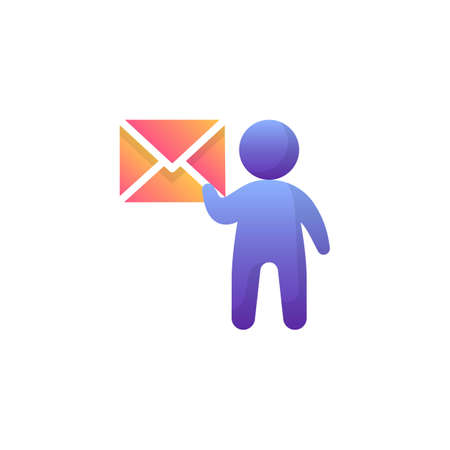 Email Marketing flat icon, Contact us vector sign, Man with envelope colorful pictogram isolated on white. Post delivery symbol, logo illustration. Flat style design Çizim